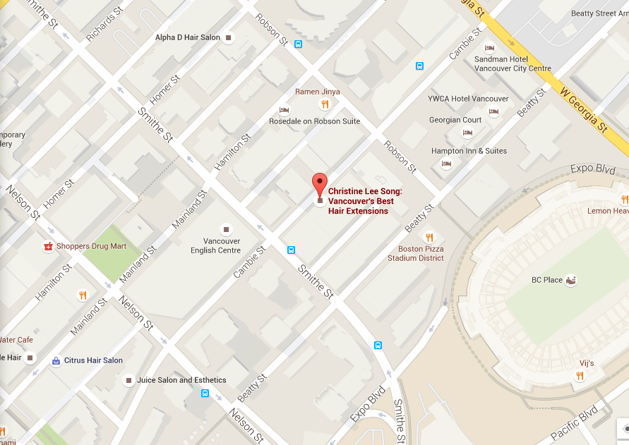 Map to Vancouver Hair Extensisons